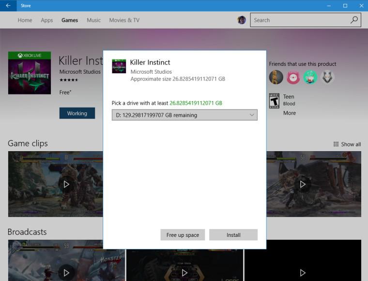 متجر الويندوز يتيح للمستخدمين بتحديد موقع التخزين للتطبيقات والالعاب الكبيرة