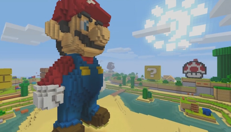 سوبر ماريو الآن علي اجهزة الـ Wii U تحت تدعم لعبة ماين كرافت