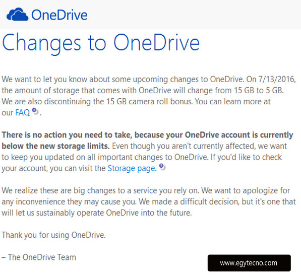 Changes to One Drive